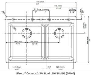Blanco Corence 1and3QTR Bowl (60 40) LOW Divide TEMPLATE Only