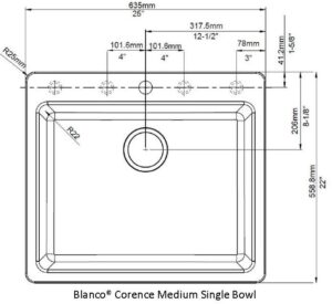 Blanco Corence Medium Single Bowl TEMPLATE Only